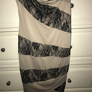 Tan/black floral Stripe Strapless dress !